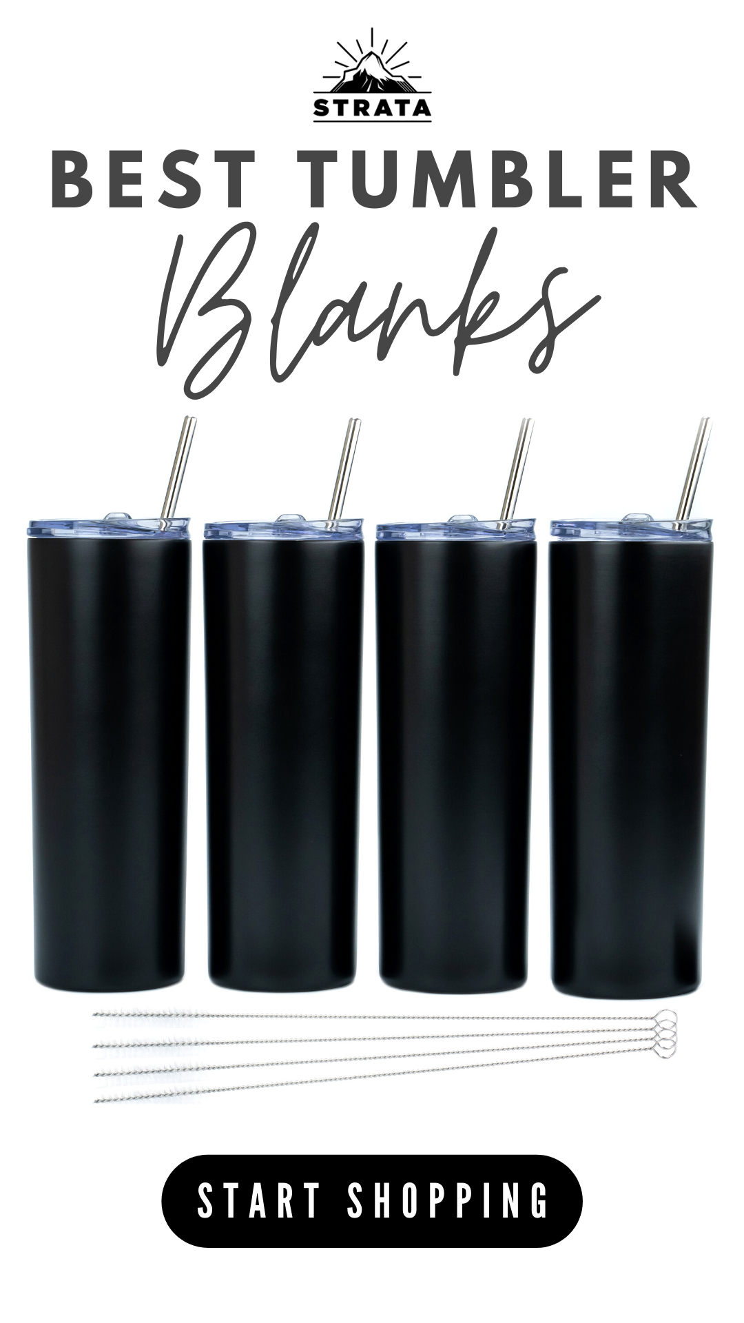 Matte Black 20 Oz Stainless Steel Skinny Tumblers By Strata Cups Travel Water Bottles In 2020 Skinny Tumblers Vinyl Tumblers Reusable Cup
