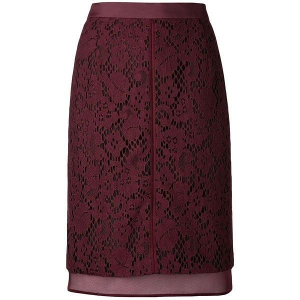 J. MENDEL lace skirt ($1,740) ❤ liked on Polyvore featuring skirts, lacy skirt, short skirts, j. mendel, purple lace skirt and short lace skirt