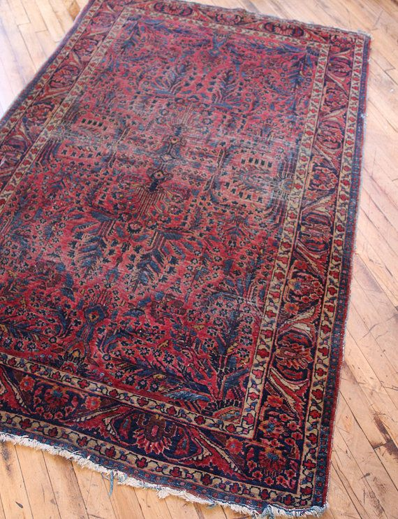 Really Old Worn And Semi Faded Persian Rug Hand Knotted Piece With Tight Weave And Pile Overall Distressed Look With Moderate We Persian Rug Shabby Look Rugs