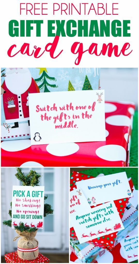 Creative gift exchange game idea love this fun twist on traditional gift exchange games free printable cards to use for negle Images