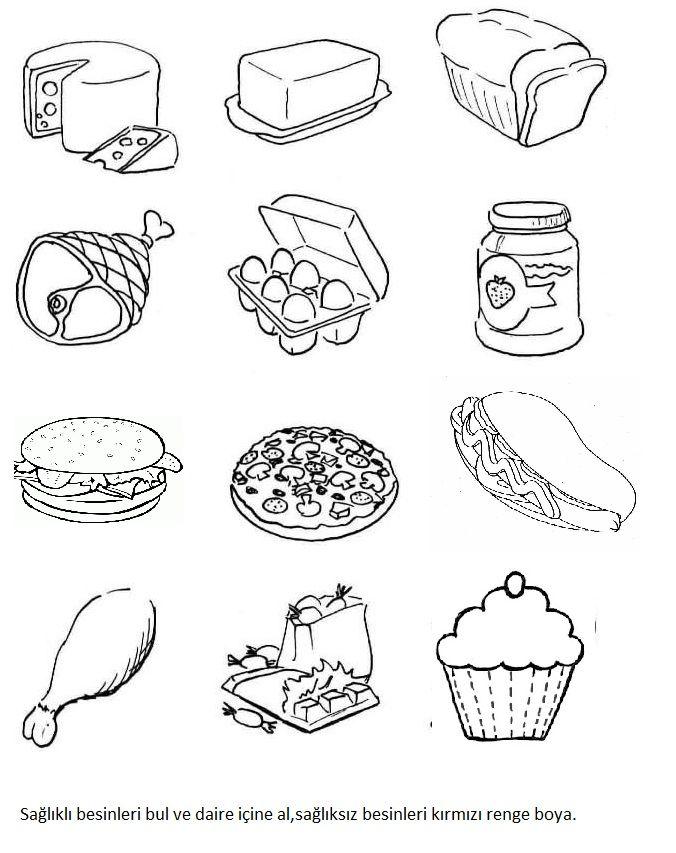 Картинки раскраски продукты питания