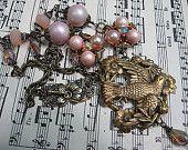 Assemblage Necklace, Vintage Brass Bird & Flowers, Upcycled Peach Beads, Bird Jewelry, Peach Bird Necklace, Vintage Bird Assemblage Necklace