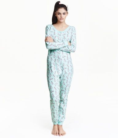 Mintgreen unicorn. One-piece pajamas in soft cotton jersey with a ... c76709b9155ff