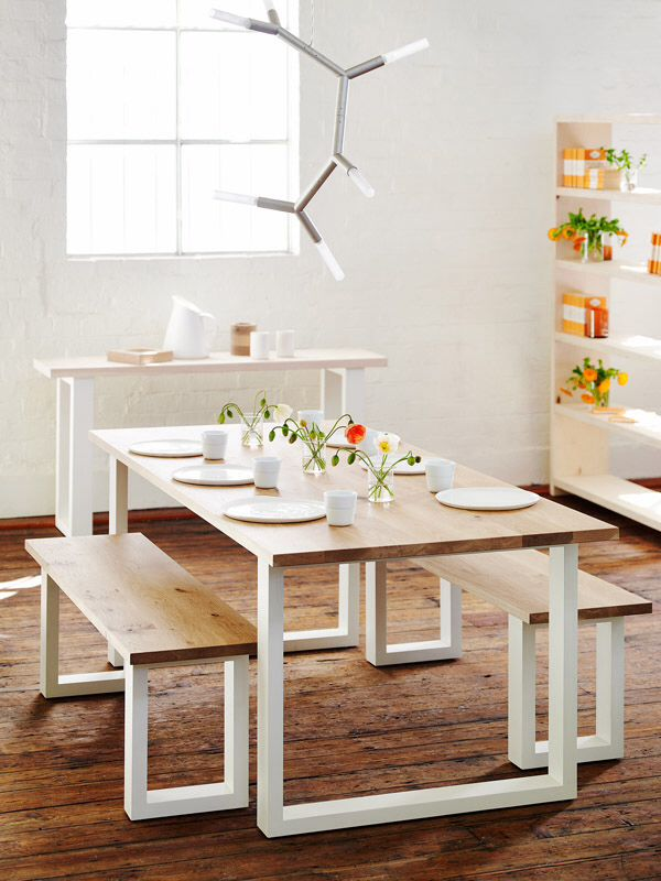 Slim Jim Dining Table And Bench Seats American Oak Timber Top And - Slim dining table with bench