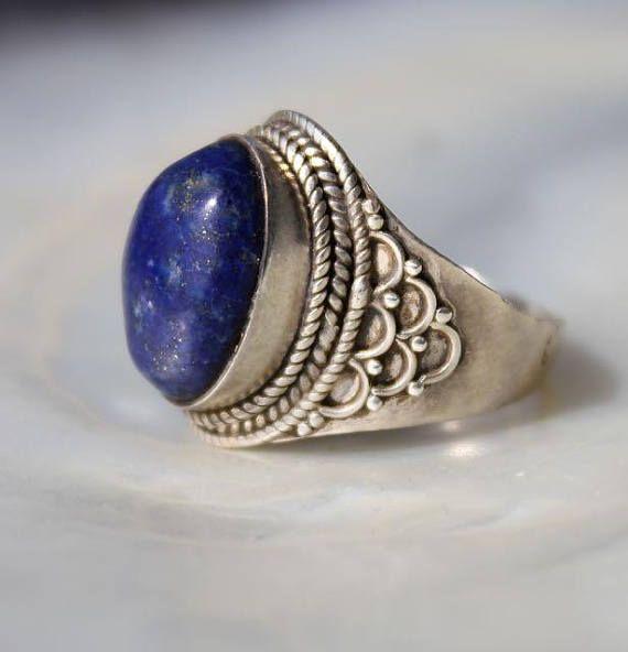 Bague ethnique bleu