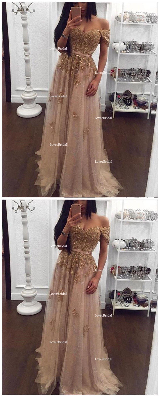 Off shoulder gold lace beaded long evening prom dresses popular