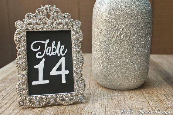Chalkboard Table Numbers in Silver Vintage Style Frames - set of 10 ...