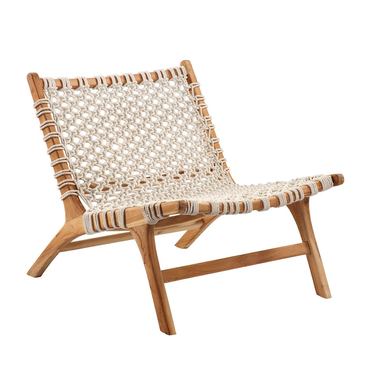 Modern White Rope And Acacia Wood Easy Chair Beautiful Low Layback Design With Lots Of Comfort And Style Seat Height In 2020 Easy Chair Furniture Chair Woven Chair
