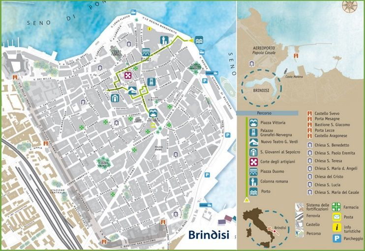 Brindisi sightseeing map | Maps | Pinterest | Italy and City