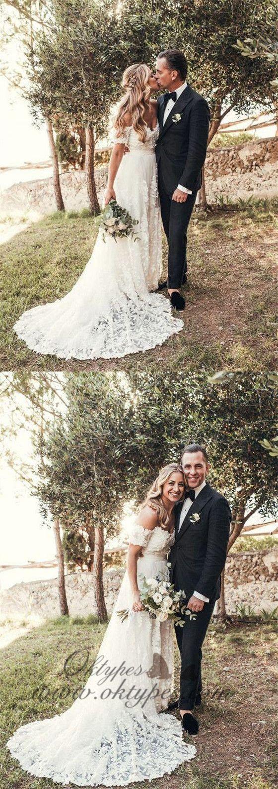Ivory beach wedding dresses  Ivory Rustic Lace Wedding Dresses Off the Shoulder Beach Wedding