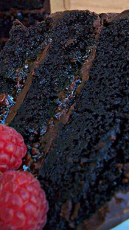 Chocolate Raspberry Ganache Cake Recipe ~  super rich, delicious, dark and aromatic