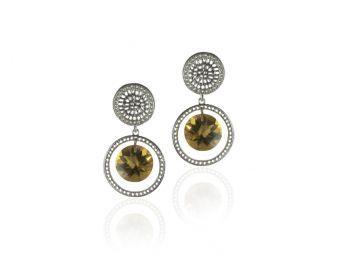 Joan Hornig Mini Blossom Pinwheel Earrings with Whiskey Topaz