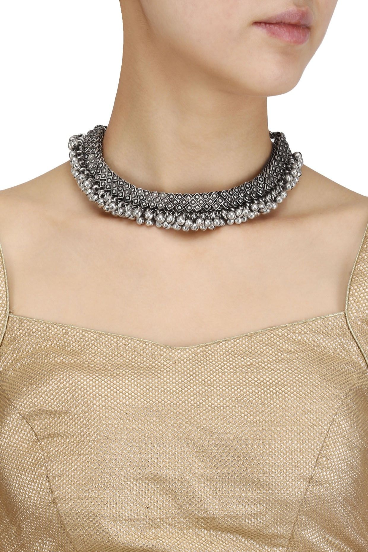 c77ba05eba Silver Roots presents Oxidesed silver plated ghungroo choker available only  at Pernia's Pop Up Shop.