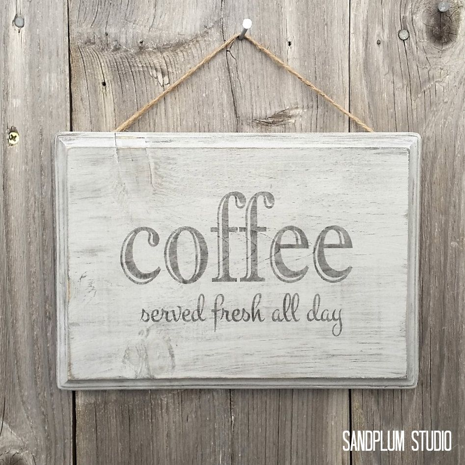 coffee sign wood coffee served fresh all day coffee decorations rustic coffee sign cafe sign coffee bar sign coffee bar decor