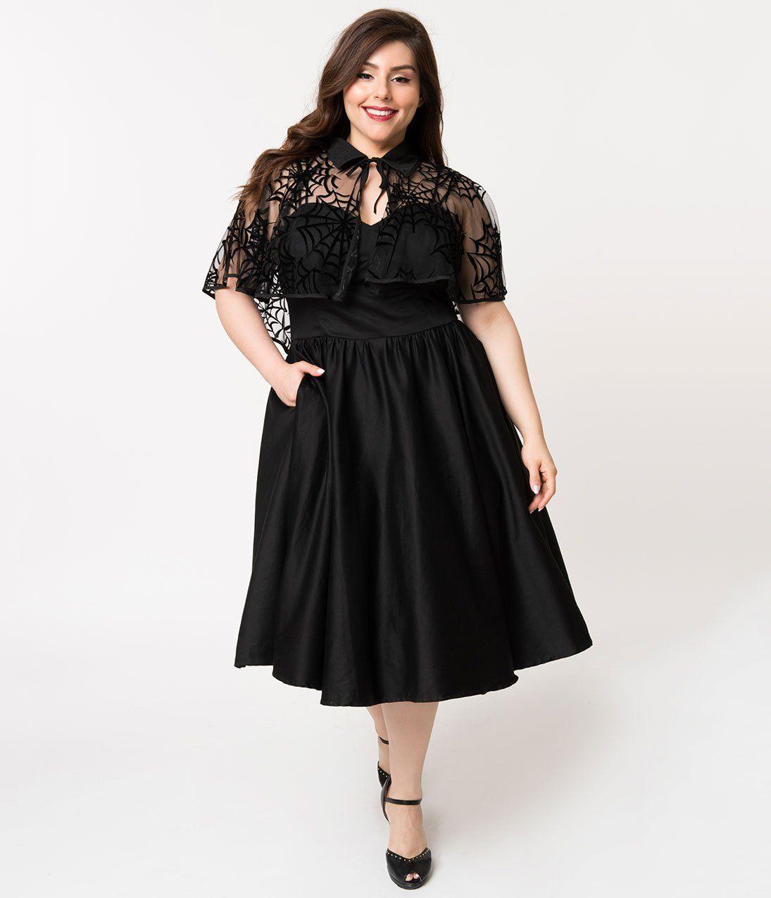 Plus size 1940s black cotton luna swing dress velvet