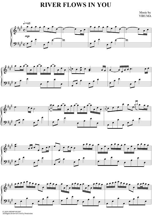 River Flows In You Sheet Music By Yiruma Piano Sheet Music Piano