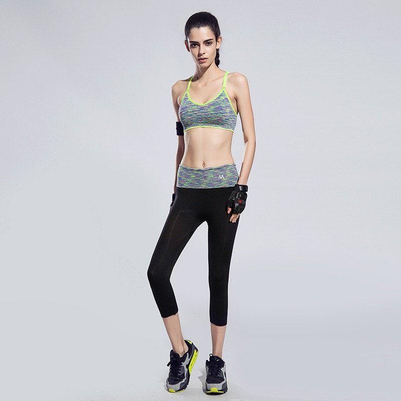 BUNDLE: Quick-Drying Cushioned Gym Bra Without Seams + Women waistband Sports ElastiC Capri