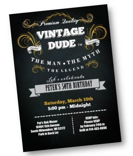Vintage Dude Birthday Invitation For Men 40th 50th 60th 70th Any Age Black And Gold Birthday Party Invite In 2020 Vintage Birthday Parties 50th Birthday Party Ideas For Men Gold Birthday Party