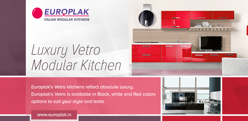 europlak india offers luxury vetro modular kitchen that adds style and elegance to your kitchen