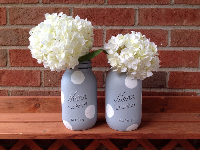 Painted mason jar, gray mason jar, baby bridal wedding shower, - pinned by pin4etsy.com
