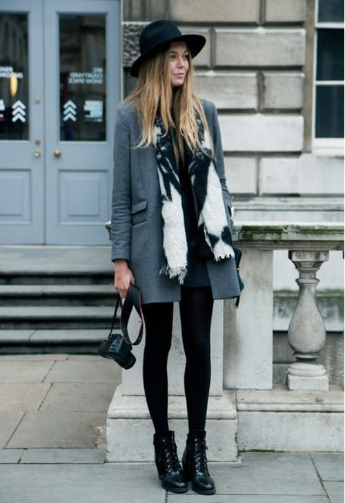 black hat, grey coat, scarf, tights & boots #style #fashion