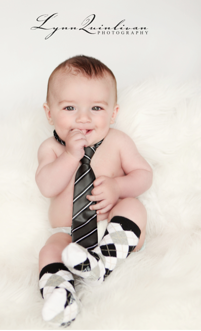 3 month baby picture ideas with dads tie and some argyle socks