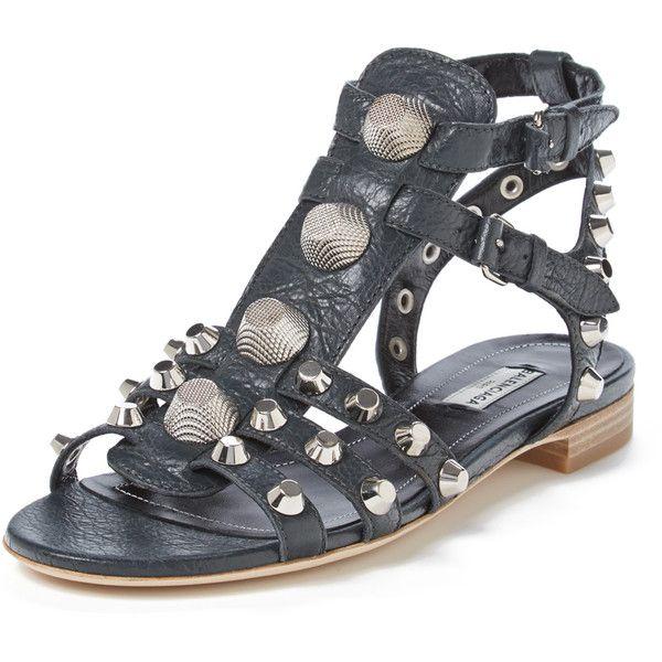 a2a646dbefb Balenciaga Women s Arena Leather Gladiator Sandal - Medium Grey ...