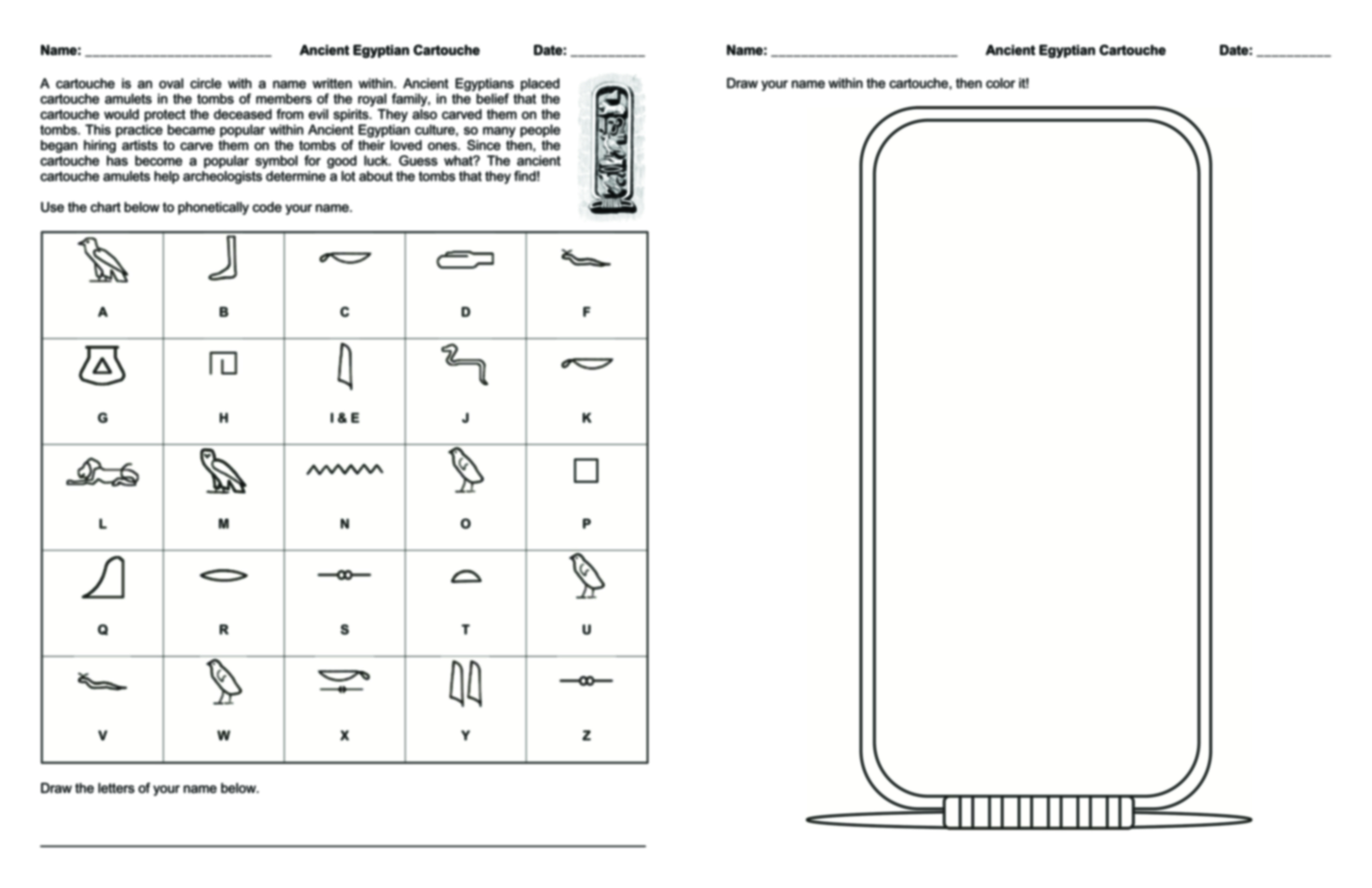 Cartouche Printable Worksheet Learning How To Read