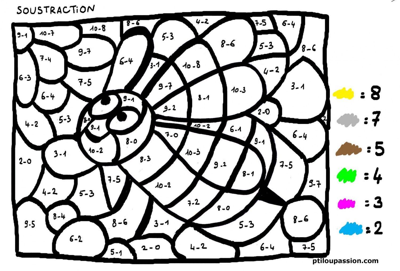 Coloriage Soustraction Cp A Imprimer.Coloriages Magiques Cp Soustraction Print Outs Math School