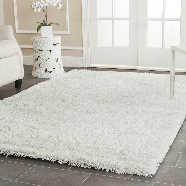 white shag rug in bedroom. Safavieh Hand-woven Bliss Off-White Shag Rug (7\u00276 X 9 White In Bedroom