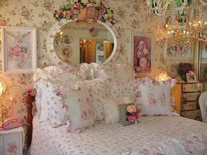 Pretty Shabby Chic Bedroom Pink Roses And Ruffles Mirror Chandelier