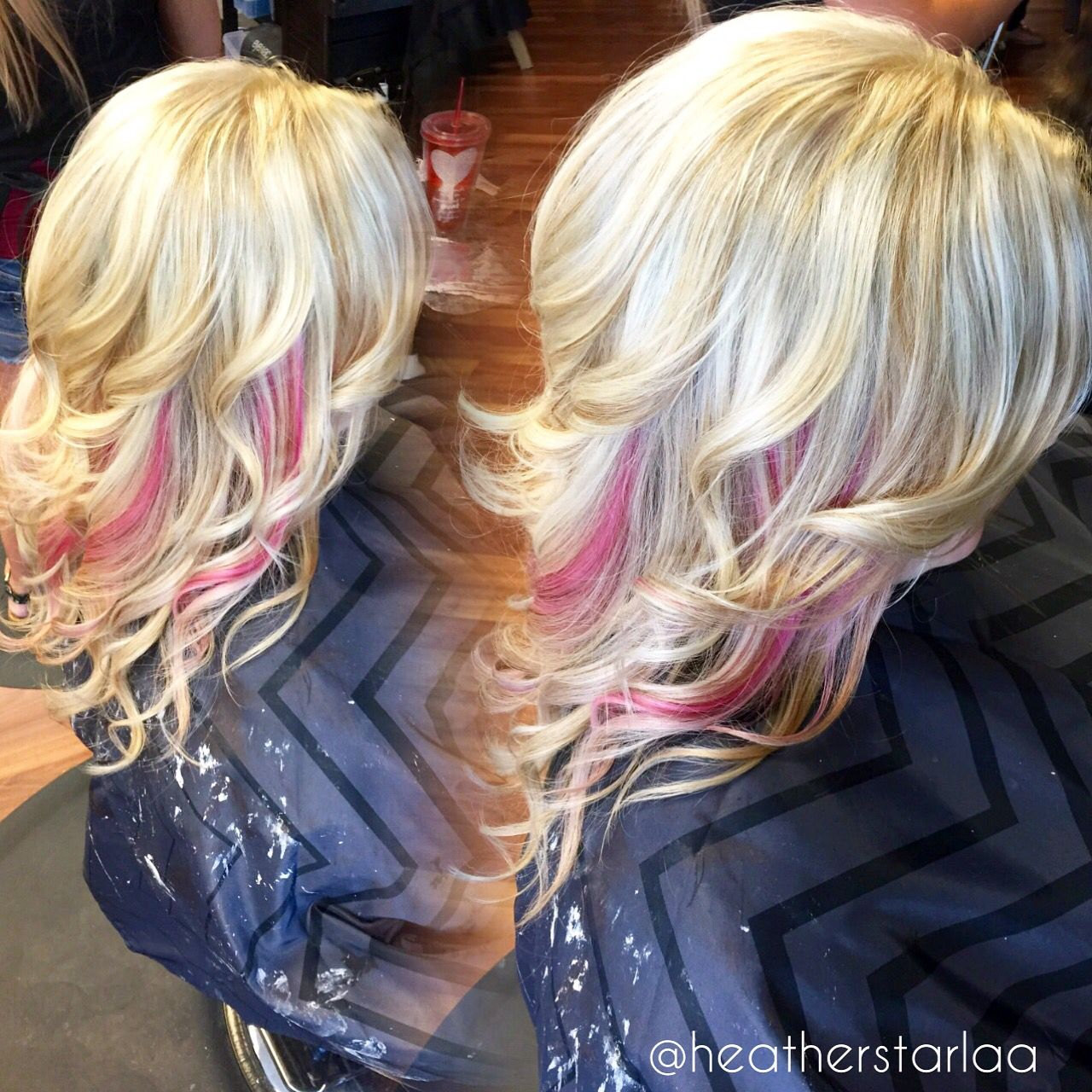 All Over Ash Blonde With Pastel Pink Peekaboos Pink Hair Blonde