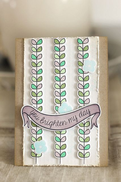 Lawn Fawn - Blissful Botanicals Stamps and coordinating Lawn Cuts dies, Bannerific stamps and Lawn Cuts, Summertime Charm (sentiment) _ you brighten my day by mom2sofia, via Flickr