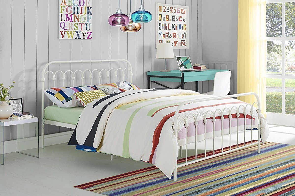 Metal Bed, Adjustable Height White | White Metal Bed Frame ...