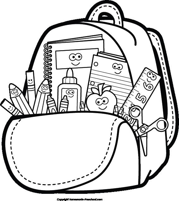 Backpack And Supplies Clipart Spalvinimo Paveikslėliai