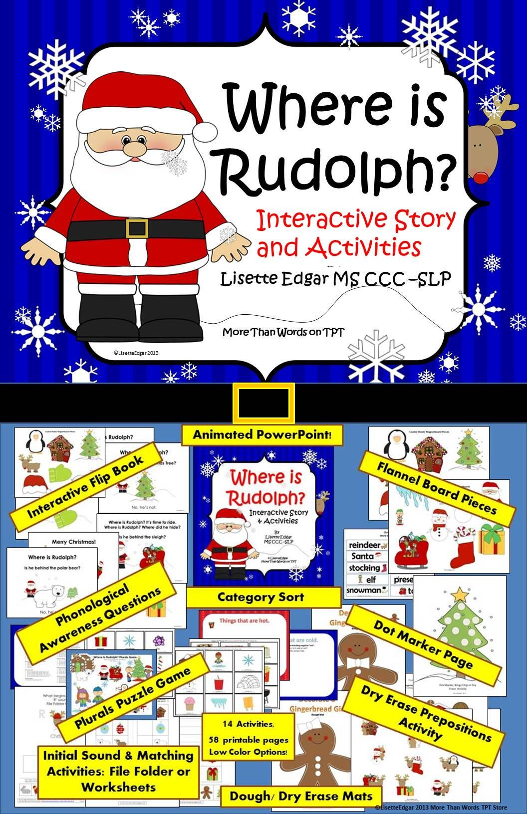 Where Is Rudolph Christmas Speech And Language Activities