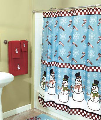 This One Is Cute Too Snowman Snowmen Candy Cane Snowflake Christmas Holiday Shower Curtain All
