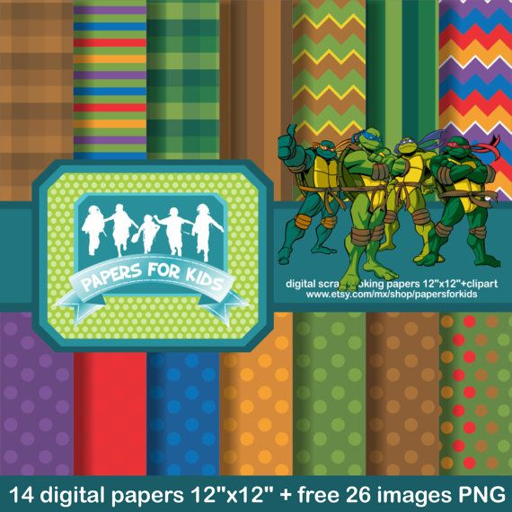 Digital Papers, Ninja Turtles, Superheroe, Birthday, Background, Clipart, Boys, Invitation
