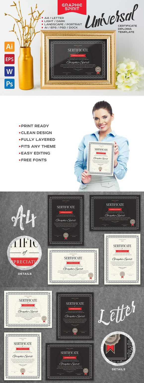 Universal Certificate Template. Stationery Templates. $9.00