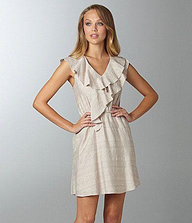 BCBGeneration Double Ruffle Jacquard Dress #Dillards