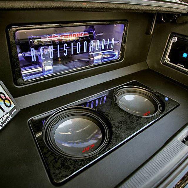 alpine car audio custom install trunk plexi sub enclosure compressor