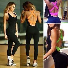 UK Women Sport Gym Yoga Running Fitness Leggings Pants Jumpsuit Athletic Clothes