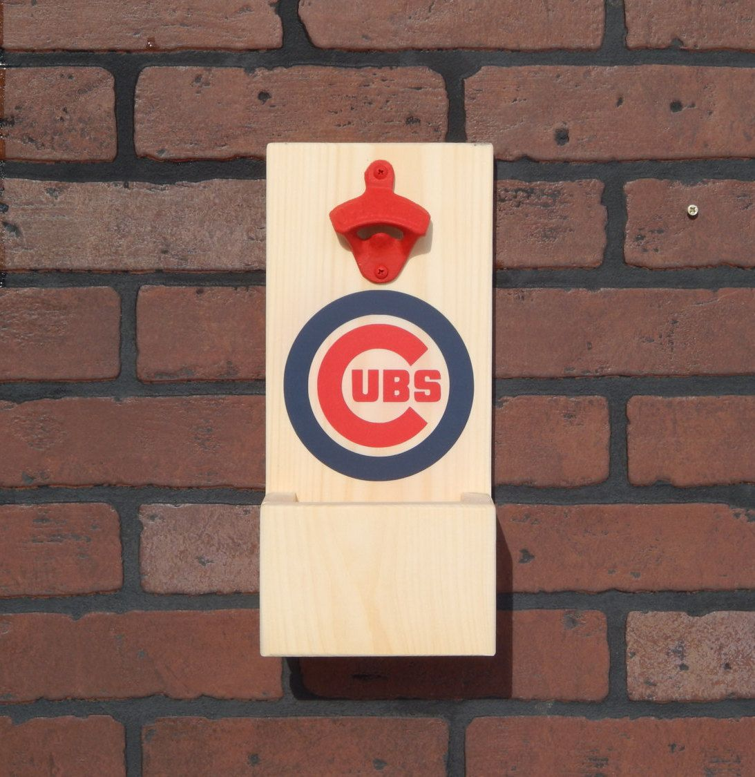 Chicago Cubs Mlb Baseball Style Wall Mounted Bottle Opener With Cap Catcher And Easy Removal System A Wall Mounted Bottle Opener Mlb Chicago Cubs Cap Catcher