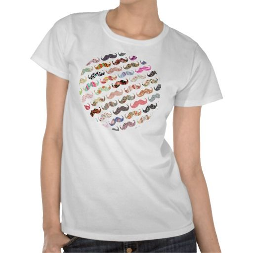 Funny Girly  Colorful Patterns Mustaches Tee Shirts