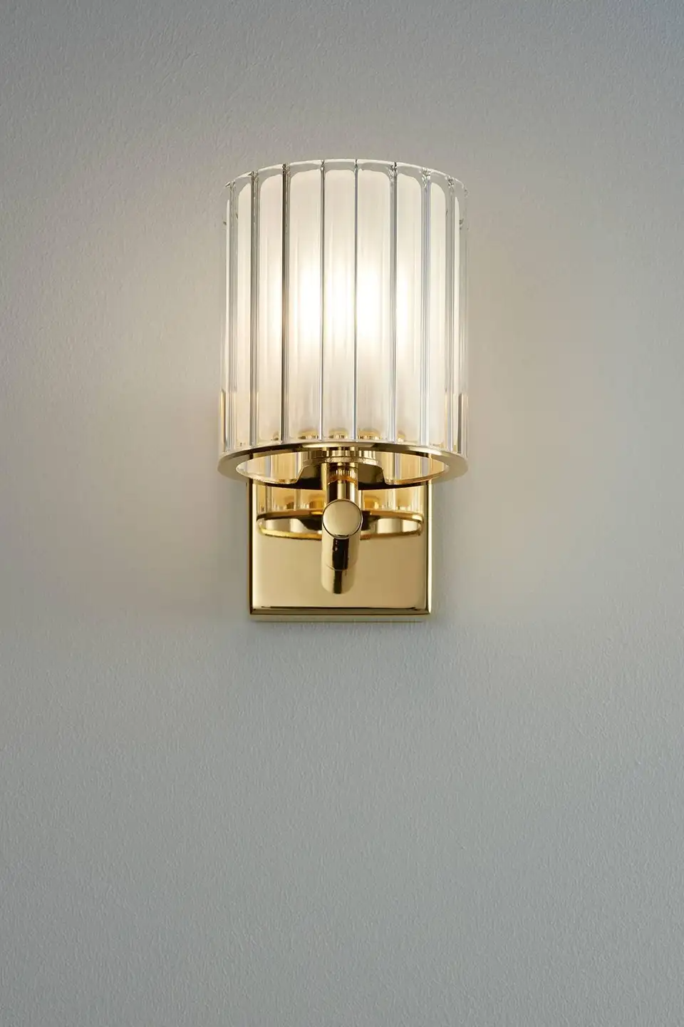 Flute Wall Light In Polished Gold With Frosted Glass Quickship Contemporary Wall Lamp Wall Light Fittings Wall Lights