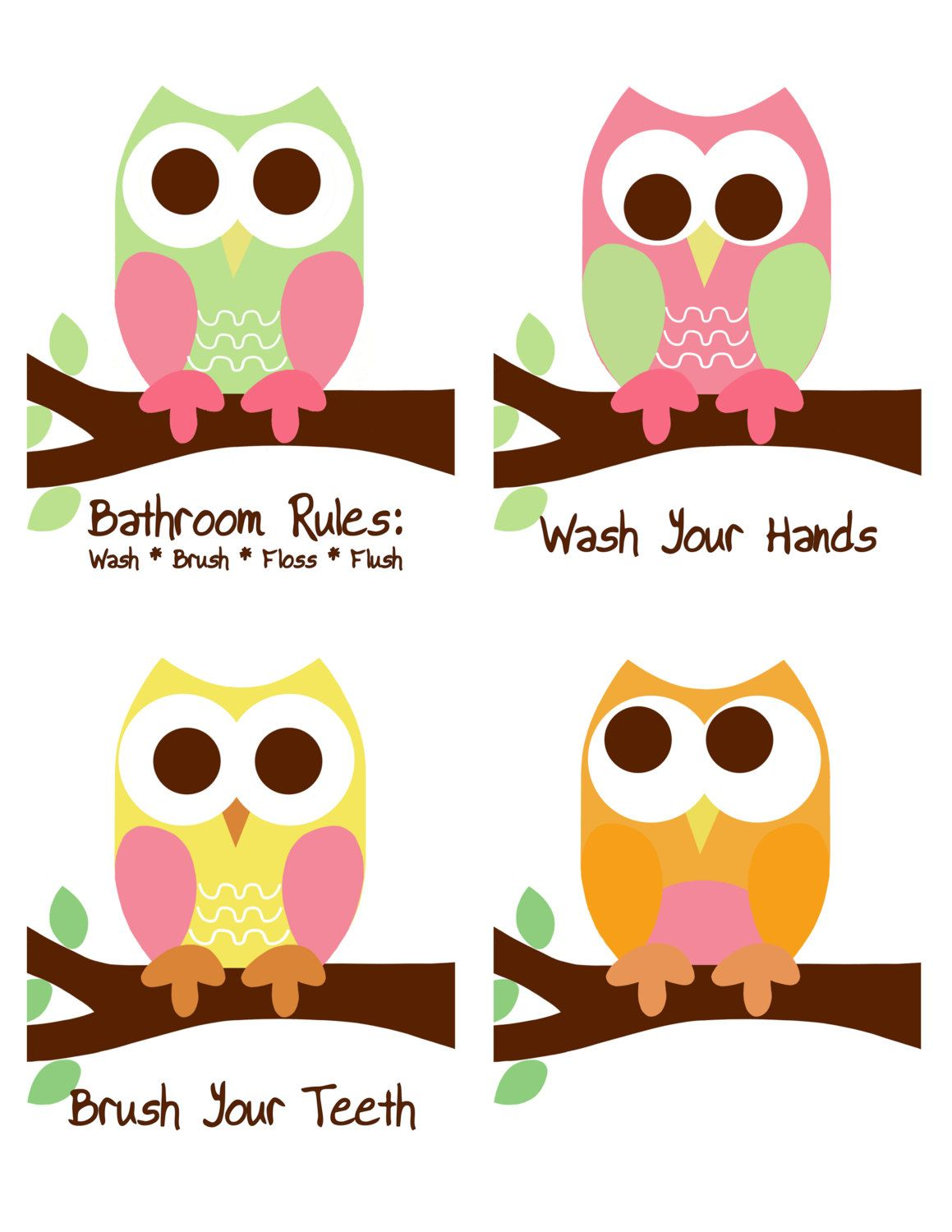 Owl Bathroom Rules, Owl Prints, Bathroom Sign, Kidu0027s Bathroom Rules, Childrenu0027s  Bathroom, 8x10 Prints, Owl Prints, Owl Wall Decor