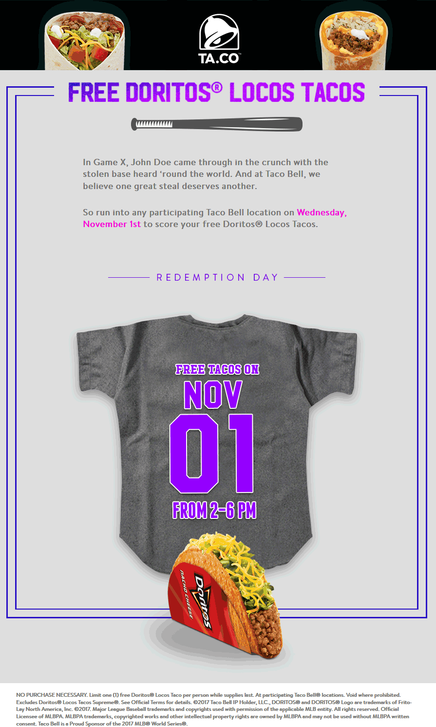 Pinned October 19th FREE taco the 1st at TacoBell