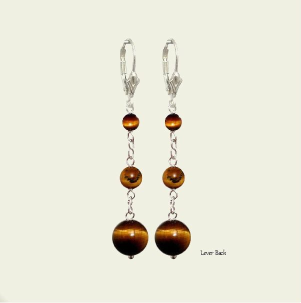 Tiger Eye Brown 10mm Round Lever Back Dangle Earrings, Pendants Charm -Zodiac - Capricorn - Choose Style  - Natural Stones - FREE SHIPPING de ArtGemStones en Etsy