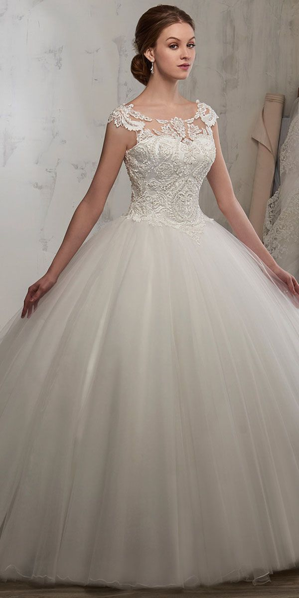 [178.65] Attractive Tulle Scoop Neckline Ball Gown Wedding Dress With Beaded Lace Appliques