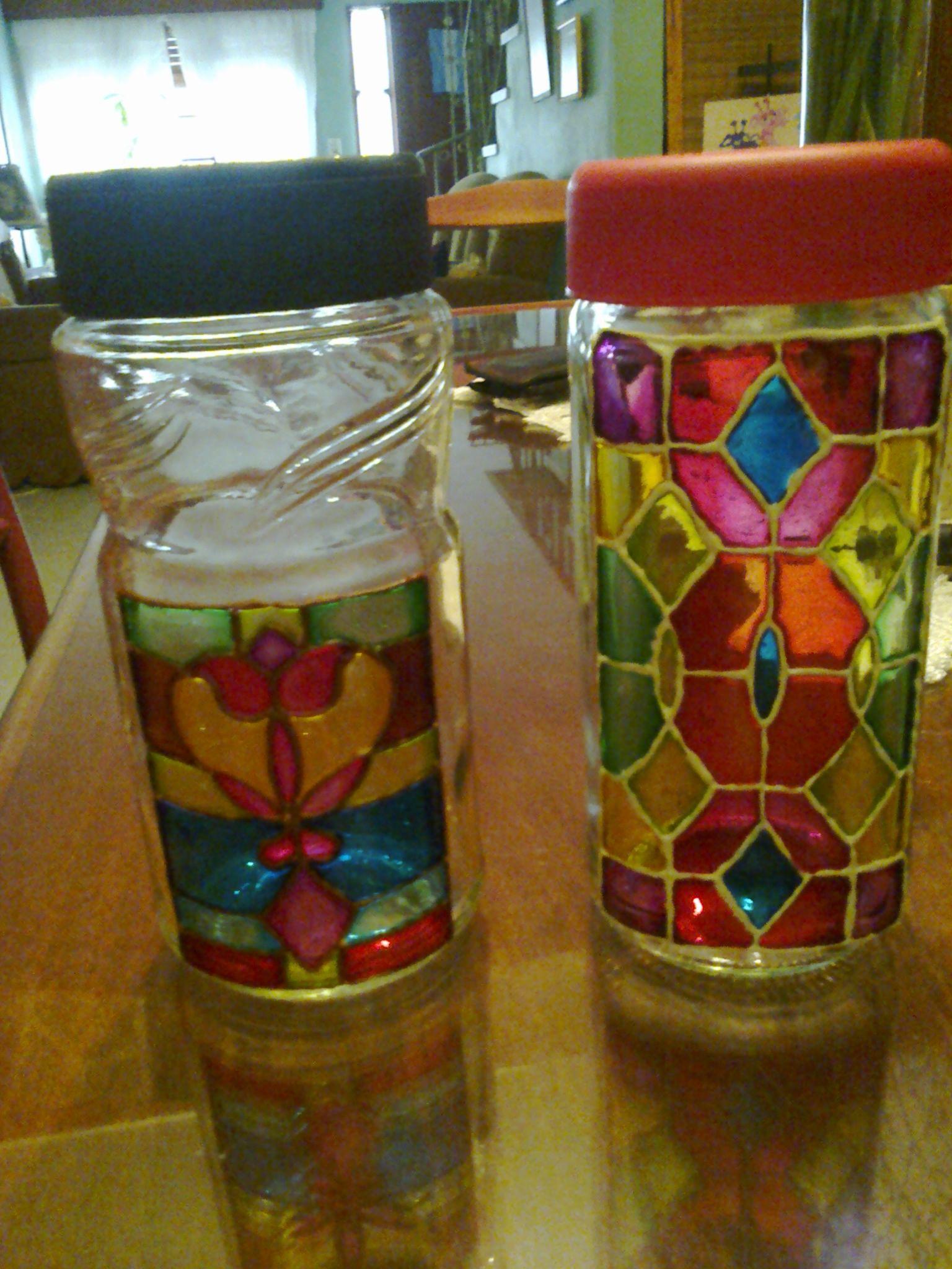 Frascos decorados en falso vitral falso vitral - Frascos de vidrio decorados ...
